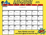 *Editable* Superhero August Calendar