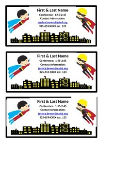 Superhero Editable Contact Information Handout
