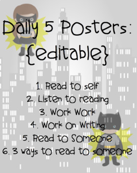 Editable Superhero Daily 5 Classroom Posters