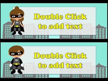 Editable Superhero Desk Name tags **FREEBIE