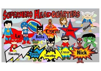 Editable Superhero Door Names and Name Tags