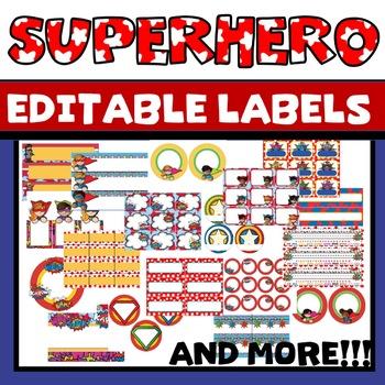 Superhero Labels EDITABLE Classroom Theme