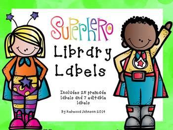 Editable Superhero Library Labels