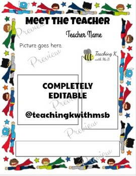 Editable Superhero Meet the Teacher
