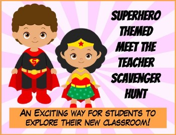 Editable Superhero Meet the Teacher Scavenger Hunt