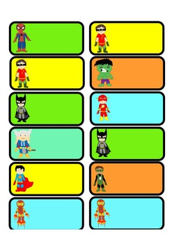Editable Superhero Name Tags