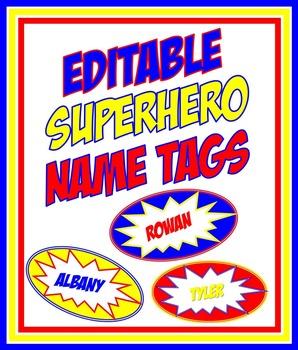 Editable Superhero Nametags