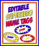 Editable Superhero Nametags