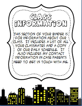 Editable Superhero Student Daily Binder