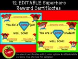 Editable Superhero Student Reward Certificates