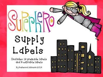 Editable Superhero Supply Labels