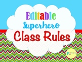 Editable Superhero Theme Class Rules Posters
