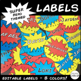 Editable Superhero Themed Name Tag Labels