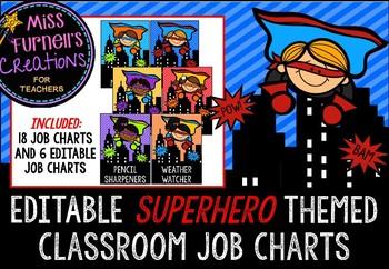 Editable Superhero themed Classroom Job Charts