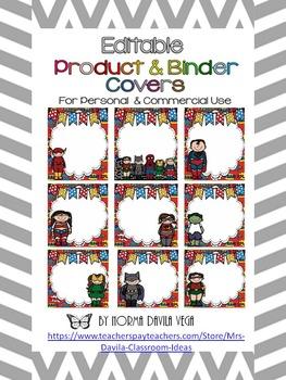 Editable Superheroes Binder Covers