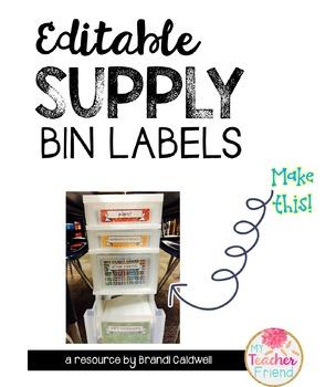 Editable Supply Bin Labels