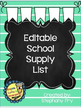 Editable Supply List