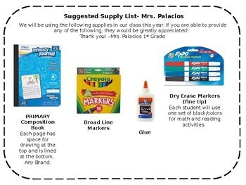 Editable Supply List with pictures!