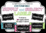 *Editable* Supply and Subject Labels {Brights and Black Collection}