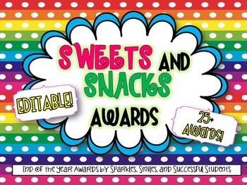 Editable Sweets and Snacks End of Year Awards