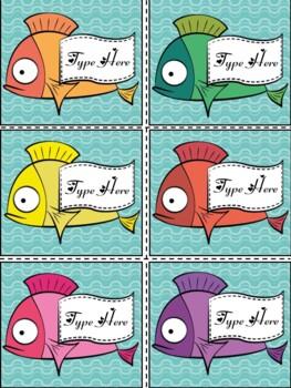 Editable Labels-Swimming Fish