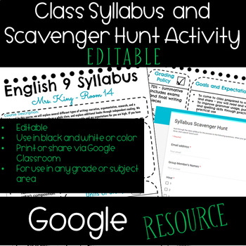 Editable Syllabus/Syllabus Scavenger Hunt Activity - Google Resource
