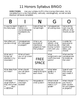 Editable Syllabus BINGO Game