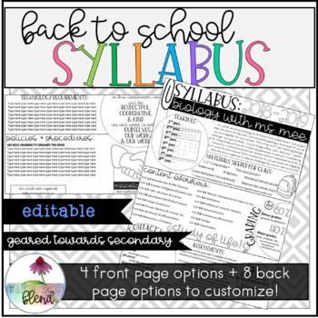 Editable Syllabus: Doodle Icon Style