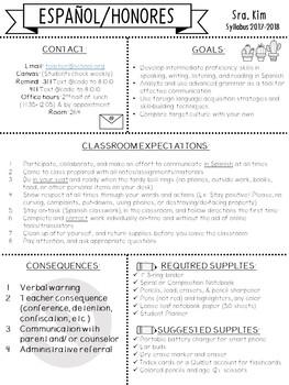 Editable Syllabus English & Spanish versions!
