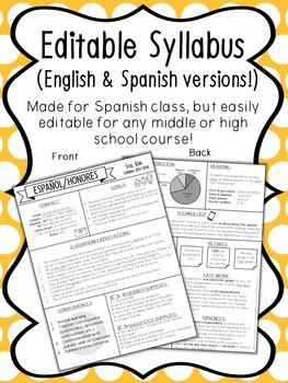 Editable Visual Syllabus with English & Spanish Versions