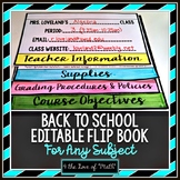 Back to School Editable Flip Book