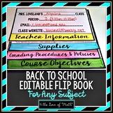 Back to School Editable Flip Book
