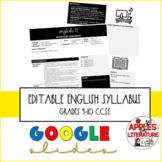 Editable Syllabus Template ELA Grades 9-10 CCSS