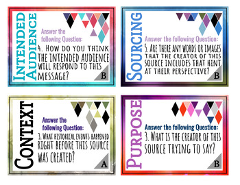 Historical Thinking Task Cards for Social Studies Primary and Secondary Sources