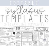 Editable Syllabus Templates for ANY GRADE