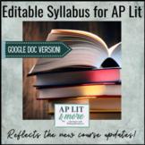 Editable Syllabus for AP Lit - Google Docs Version