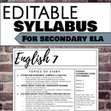 Editable Syllabus for Secondary ELA