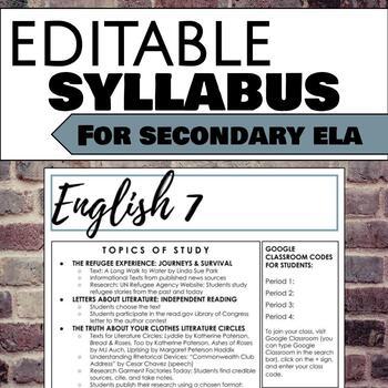 Editable Syllabus for Secondary ELA