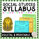Editable Syllabus for Social Studies