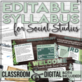 Editable Syllabus Template for Social Studies Engaging Infograph Style