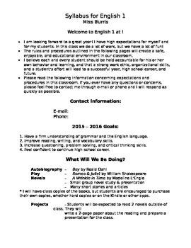 Editable Syllabus for any High School Class