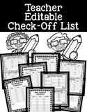 Editable TEACHER Check List
