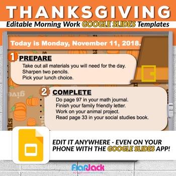 Editable THANKSGIVING Morning Work GOOGLE SLIDES Templates