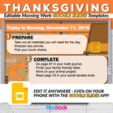 Editable THANKSGIVING Morning Work GOOGLE SLIDES Templates