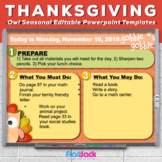 Editable THANKSGIVING Owl Themed Morning Work PowerPoint T