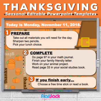 Editable THANKSGIVING Themed Morning Work PowerPoint Templates