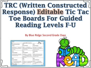 Editable TRC Tic Tac Toe Board Levels F-U