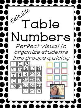 Editable Table Numbers