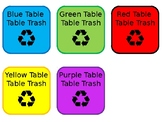 Editable Table Trash Signs