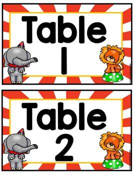 Editable Table and Center Signs-Circus Theme